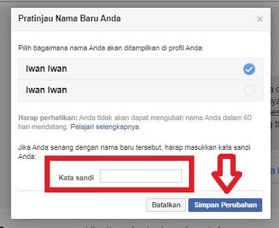 cara mengganti nama di fb