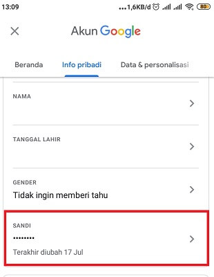 cara ganti password email
