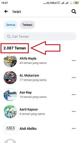 cara melihat jumlah teman di facebook