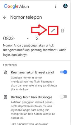 cara mengubah nomor hp di gmail di android