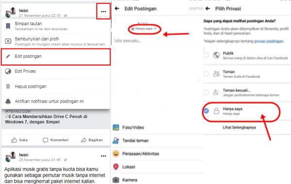 cara privasi foto di facebook