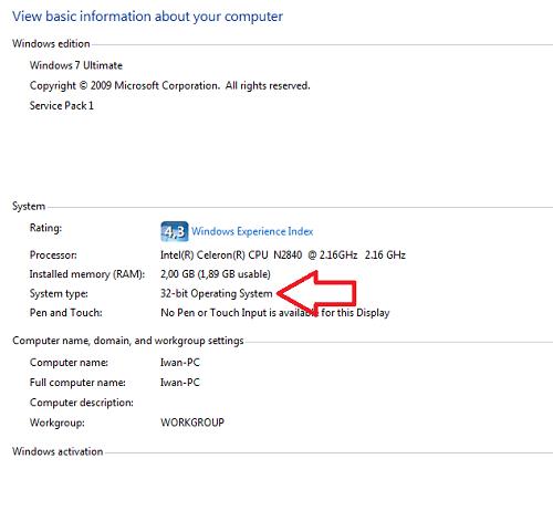 cara mengetahui laptop 32 bit atau 64 bit