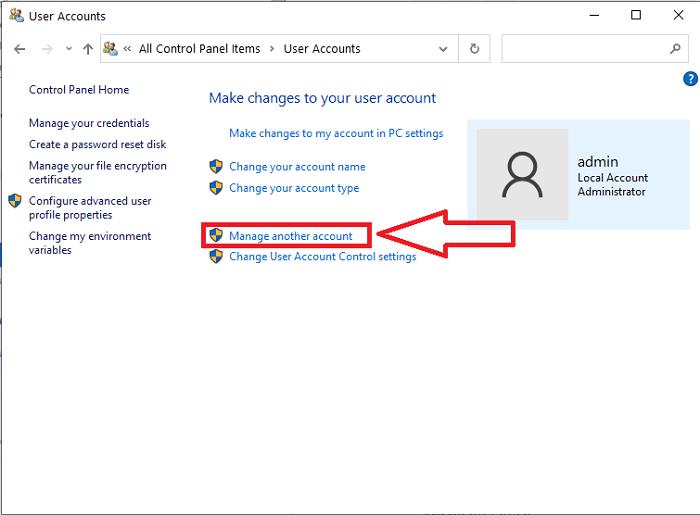 remove account windows 10