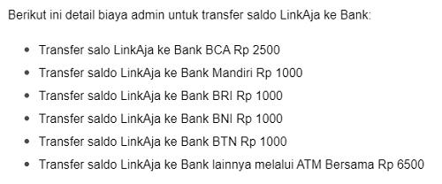 biaya transfer linkaja ke bank
